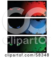 Royalty Free RF Clipart Illustration Of A Digital Collage Of Three Red Blue And Green Evil Eye Grunge Banners by KJ Pargeter