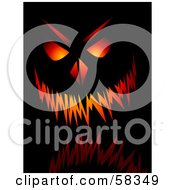 Royalty Free RF Clipart Illustration Of A Glowing Menacing Jack O Lantern Pumpkin Face On Black