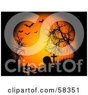 Royalty Free RF Clipart Illustration Of Orange Moonlight Shining Down On Pumpkins Bare Trees And Tombstones In A Cemetery With Bats by KJ Pargeter