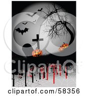 Royalty Free RF Clipart Illustration Of Creepy Halloween Pumpkins In A Graveyard Under A Bare Tree And Bats With Dripping Spider Webs by KJ Pargeter