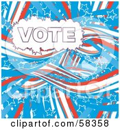 Royalty Free RF Clipart Illustration Of A Patriotic American Vote Background With Red White And Blue Swooshes And White Star Outlines Version 2 by MilsiArt