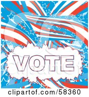 Patriotic American Vote Background With Red White And Blue Swooshes And White Star Outlines - Version 4