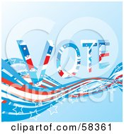 Patriotic American Vote Background With Red White And Blue Swooshes And White Star Outlines Version 5 by MilsiArt