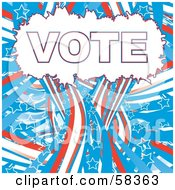 Patriotic American Vote Background With Red White And Blue Swooshes And White Star Outlines - Version 7