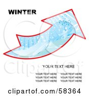 Royalty Free RF Clipart Illustration Of An Arrow With A Winter Landscape And Sample Text by MilsiArt