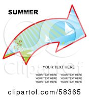 Royalty Free RF Clipart Illustration Of An Arrow With A Summer Landscape And Sample Text by MilsiArt