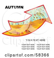 Royalty Free RF Clipart Illustration Of An Arrow With An Autumn Landscape And Sample Text by MilsiArt