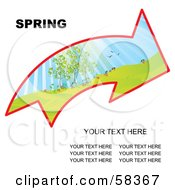 Royalty Free RF Clipart Illustration Of An Arrow With A Spring Landscape And Sample Text by MilsiArt