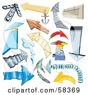 Royalty Free RF Clipart Illustration Of A Digital Collage Of Arrows Made Of Different Materials by MilsiArt