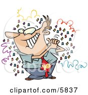 Man Celebrating Surrounded By Confetti Clipart Illustration by toonaday