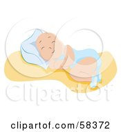 Royalty Free RF Clipart Illustration Of A Newborn Baby Boy Sound Asleep And Resting Against A Pillow