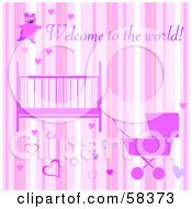 Pink Girly Welcome To The World Baby Girl Greeting With A Crib Stroller Hearts And Stripes