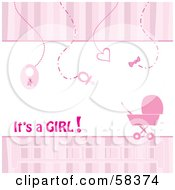 Vertical Pink Stripe Borders With Baby Items And A Carriage Announcing That Its A Girl