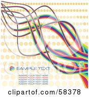 Rainbow Squiggle Lines Spanning A Beige Halftone Background With Sample Text