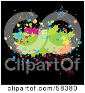 Royalty Free RF Clipart Illustration Of A Grungy Colorful Splatter With Elegant Butterflies On Black
