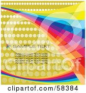 Royalty Free RF Clipart Illustration Of Rainbow Waves On A Halftone Background With Sample Text Version 3 by MilsiArt