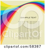 Royalty Free RF Clipart Illustration Of A Rainbow Wave With Sample Text On A Pastel Background Version 3 by MilsiArt