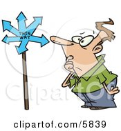 Confused Man Looking At A Sign That Points In Many Directions Clipart Illustration by toonaday #COLLC5839-0008