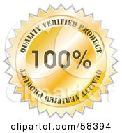 Royalty Free RF Clipart Illustration Of A Gold Quality Verified Product Label Seal by MilsiArt