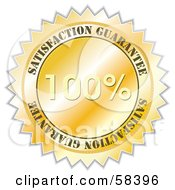Royalty Free RF Clipart Illustration Of A Golden 100 Percent Satisfaction Guarantee Label Seal by MilsiArt