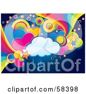 Royalty Free RF Clipart Illustration Of A Funky Colorful Cloud Circle Heart And Rainbow Grunge Background by MilsiArt #COLLC58398-0110