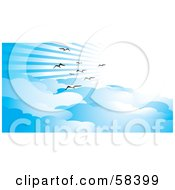 Royalty Free RF Clipart Illustration Of Gulls Flying Through Rays Of Light In A Blue Sky With Clouds