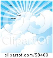 Royalty Free RF Clipart Illustration Of Gulls Flying Above Clouds Under Sun Rays In A Blue Sky