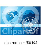 Royalty Free RF Clipart Illustration Of A Silver Compass Rose Over A Blue World Map by MilsiArt #COLLC58402-0110