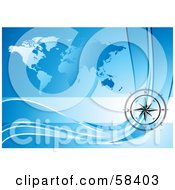 Royalty Free RF Clipart Illustration Of A Black Compass Rose Over A Blue World Map