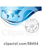 Royalty Free RF Clipart Illustration Of A Silver Compass Rose On A White Wave Under A Blue World Map