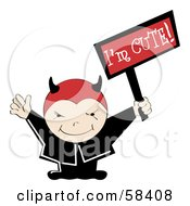 Royalty Free RF Clipart Illustration Of A Cute Little Devil Holding An Im Cute Sign by MilsiArt