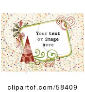Royalty Free RF Clipart Illustration Of A Retro Styled Christmas Box With Sample Text On A Tiled Background