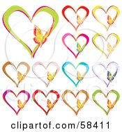 Royalty Free RF Clipart Illustration Of A Digital Collage Of Colorful Heart Outlines With Butterflies by MilsiArt