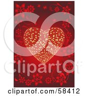 Royalty Free RF Clipart Illustration Of A Beautiful Floral Border Surrounding A Golden Tile Heart On Red by MilsiArt