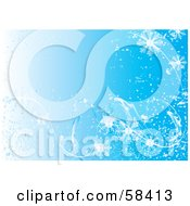 Royalty Free RF Clipart Illustration Of A Blue Icy Cold Snowflake Background Version 1