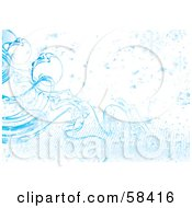 Royalty Free RF Clipart Illustration Of A Blue Icy Cold Snowflake Background Version 2 by MilsiArt