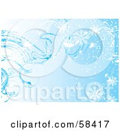 Royalty Free RF Clipart Illustration Of A Blue Icy Cold Snowflake Background Version 3 by MilsiArt