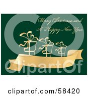 Royalty Free RF Clipart Illustration Of A Green And Gold Christmas Greeting With Presents On A Banner by MilsiArt