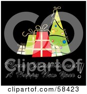 Royalty Free RF Clipart Illustration Of A Retro Styled Christmas Greeting With Presents And A Tree On Black by MilsiArt
