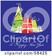 Royalty Free RF Clipart Illustration Of A Retro Blue Christmas Greeting With A Tree And Presents by MilsiArt