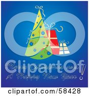Royalty Free RF Clipart Illustration Of A Gradient Blue Christmas Greeting With A Retro Tree And Gifts by MilsiArt
