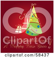 Royalty Free RF Clipart Illustration Of A Red Christmas Greeting With A Retro Tree And Presents by MilsiArt