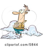 Caucasian Man Happy On Cloud 9 Clipart Illustration