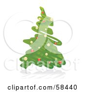 Royalty Free RF Clipart Illustration Of A 3d Green Christmas Tree Scribble With Ornaments by MilsiArt