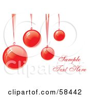 Royalty Free RF Clipart Illustration Of Four Red Suspended Christmas Baubles With Sample Text by MilsiArt