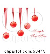 Royalty Free RF Clipart Illustration Of Five Red Suspended Christmas Baubles With Sample Text by MilsiArt