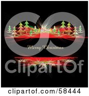 Royalty Free RF Clipart Illustration Of A Merry Christmas Greeting With Red Fractals And Trees On Black by MilsiArt