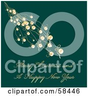 Royalty Free RF Clipart Illustration Of A Green Christmas Greeting With Hanging Ornaments And Text by MilsiArt