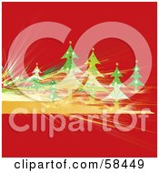Red Christmas Background With Fractal Lines And Evergreen Trees