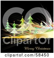 Royalty Free RF Clipart Illustration Of A Christmas Trees And Golden Fractal Lines On Black by MilsiArt